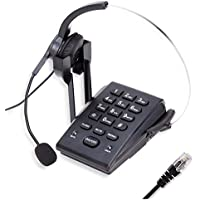 TelPal Dialpad Corded Telephone[Call Center]with Noise Cancelling RJ9 Headset,PC Recording Cable for Small Offices and Home-based Agents