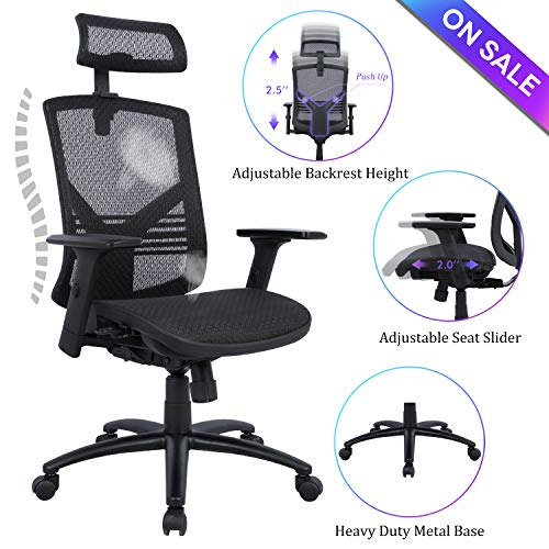 (Statesville Ergonomic High Back Mesh Office Chair - Adjustable Backrest, Seat Slider, Arms and Headrest Desk Chair Computer Chair with Metal Base,)
