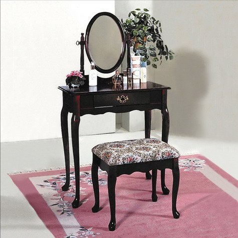 Adjustable Classic Mirror (Brand New Cherry Finish Classic Stool & Vanity Set w/ Adjustable Mirror)
