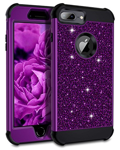 """Purple Hard Plastic Case - Petocase Compatible iPhone 8 Plus Case/iPhone 7 Plus Case, Luxury Sparkle Glitter Shockproof Full-Body Protective Hybrid Cover for 5.5"""" Apple iPhone 6+/6s+/7+/8+ - Purple Bling/Black"""