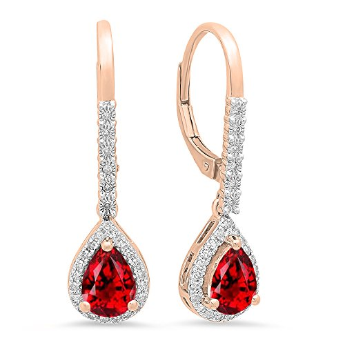 Dazzlingrock Collection 10K 7X5 MM Each Pear Garnet & Round White Diamond Ladies Dangling Drop Earrings, Rose Gold ()