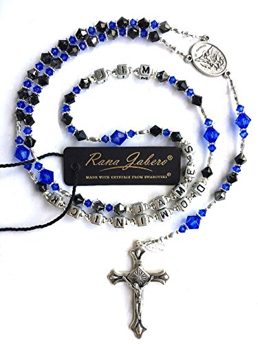 Rana Jabero Personalized Saint Michael Police Officer Catholic Rosary - Crystals from Swarovski
