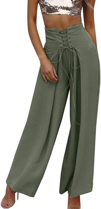 Pantalones de Moda Mujer SUNNSEAN Cintura Alta Pierna Ancha Falda ...
