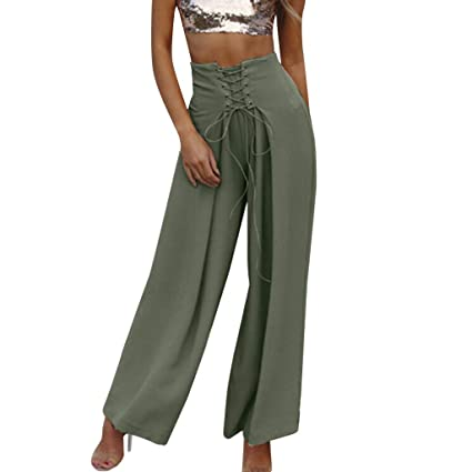 c7e8268d25 JOFOW Womens Wide Leg Pants Solid Swing Strappy Crossover Tie Tunic  Slimming Loose Trousers High Waist