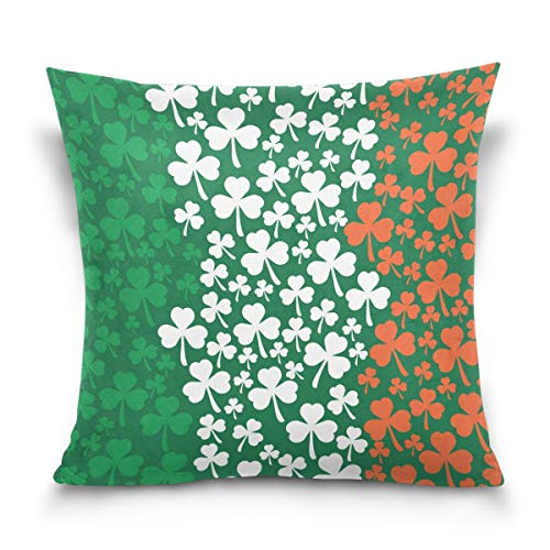 ZZKKO Cushion Cover St. Patrick's Day Shamrock Irish Flag Cotton Velvet Pillowcase Square 18x18 Inch Double Sided Throw Pillows Covers for Bed