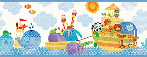 Chesapeake HAS01081B Noah and Friends Blue Animal Wallpaper Border