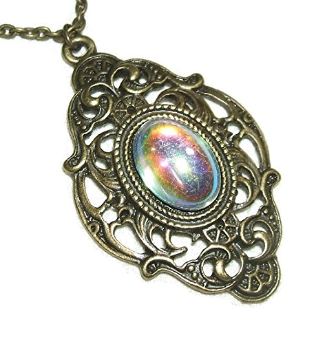 VICTORIAN NECKLACE Czech Glass AB Cabochon Pendant COLOR CHANGING Stone Antiqued Finish ()