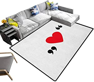 Love Rugs Cute Red Heart in Quotation Marks Romantic Love Icon Simple Classic Valentines Soft Cozy Floor Mat Red Black White (4'x5')