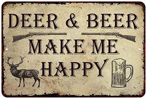 Corner Deer Creek (Chico Creek Signs Deer & Beer Make Me Happy Man Cave Fishing 12x18 Metal Sign 112180063007)