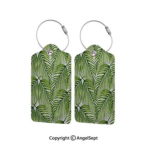 Flexible Travel Leather Luggage Tag,Fascinating Leaves on Branches Exotic Setting Floral Arrangement Jungle Themed Greens 2 PCS Fern Green,With Name ID Card Perfect to Quickly Spot Luggage Suitcase