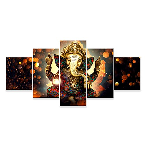 Canvas Painting Wall Art Home Decor For Living Room HD Prints 5 Pieces Elephant Trunk God Modular Poster Ganesha Pictures Wooden Bar Frame Ready to Hang