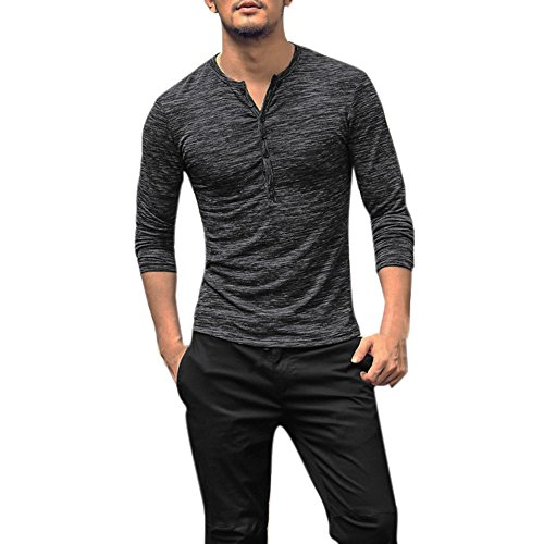 Willow S Men Long Sleeve Henry Collar Button Slim T-Shirt Casual Tops Comfortable Blouse Tees Gray