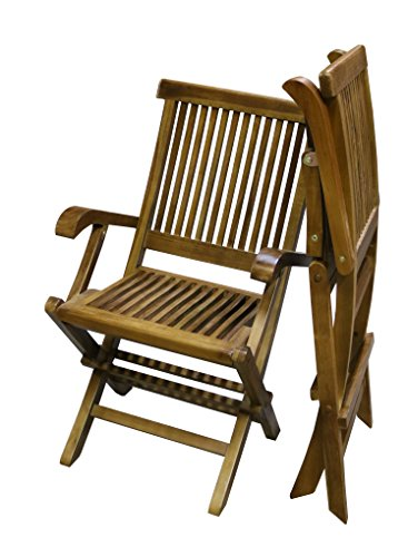 ALATEAK 2 Piece Teak Wood Indoor Outdoor Patio Garden Yard Folding Seat Arm Chair Set