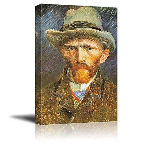 Self Portrait with Grey Felt Hat by Vincent Van Gogh Print Famous Painting Reproduction