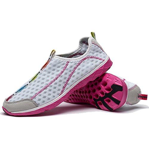 Wotte Mujeres Secado Rápido Malla Slip On Water Zapatos Zapatos Casuales De Aqua Ligero Rosa Blanco