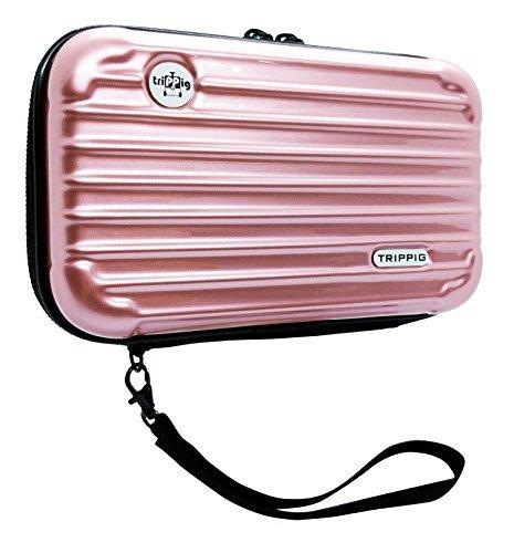[TRIPPIG] Passport Holder / Passport Wallet / Travel clutch bag / Cosmetic Organizer / Mini Luggage Shape / Digital Pouch / Credit Card cash organizer with hand strap (Rose Gold)