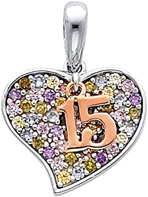 Million Charms 14k Yellow Gold with White CZ Accented Key Charm Pendant with 18 Rolo Chain