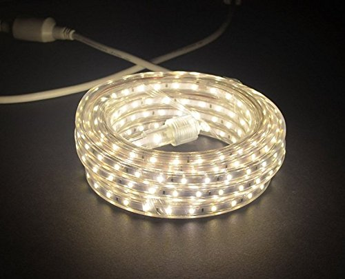 120v Rope Light (CBConcept UL Listed, 100 Feet, 10100 Lumen, 4000K Soft White, Dimmable, 120V AC Flexible Flat LED Strip Rope Light, 1830 Units 3528 SMD LEDs, Indoor/Outdoor Use, Accessories Included, [Ready to use])