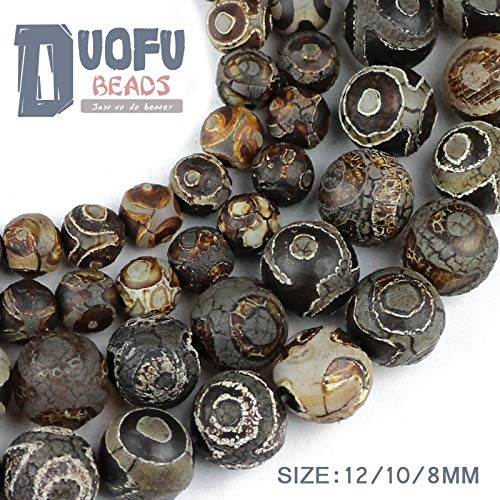 maledery China Tibetan Dzi Eyes Beads Natural Brown Agate Stone Religion Round Loose Bead 8/10/12MM Beads for Jewelry Making Bracelet DIY(Multi-Color,10)