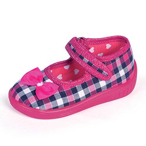 Babyschuhe Hausschuhe Laufschuhe Ballerina mit Klettverschluß karo pink (19)
