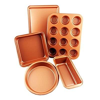 CopperKitchen 5 PIECE - Toxic Free - Organic Premium Environmental Friendly NONSTICK Coating – Durable Quality Baking Pans - Muffin Pan, Loaf Pan, Square Pan, Cookie Sheet and Round Pan BAKEWARE SET
