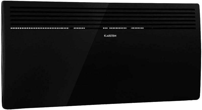 Opinión sobre Klarstein Hot Spot Slimcurve - Calefactor por convección, Circulación de aire por calentamiento, 2 niveles potencia, Protección IP24, Hasta 40 m², Detección de ventanas abiertas, Autoapagado, Negro