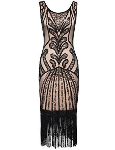 PrettyGuide Women 1920s Dress Beads Deco Inspired Cocktail Flapper Dress M Black Beige for $<!--$39.99-->