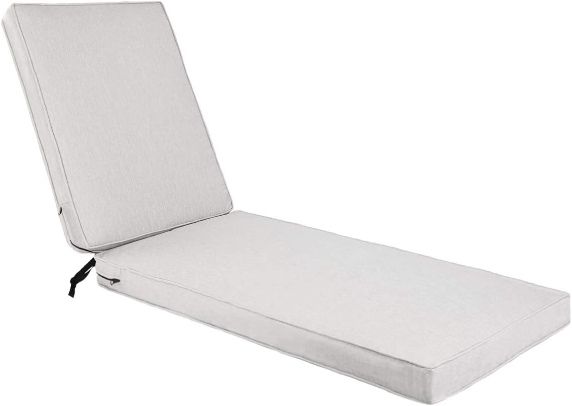 AAAAAcessories Outdoor/Indoor Water-Resistant Chaise Lounge Cushion for Patio Furniture, 72 x 21 x 3 Inch, Light Grey