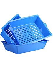 """Ocamo 3 in 1 Self Sifting Tray Cat Litter Box Simple Stylish Antimicrobial Pet Cat Toilet Training Tray Blue (16.9""""*13""""*4.3"""")"""