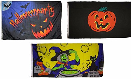 ALBATROS 3 ft x 5 ft Happy Halloween 3 Pack Flag Set #88 Combo Banner Grommets for Home and Parades, Official Party, All Weather Indoors Outdoors]()