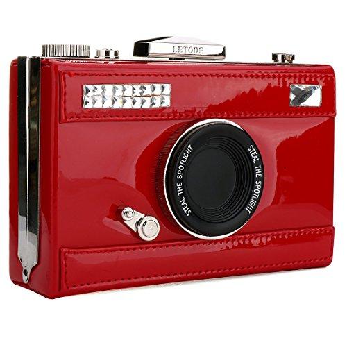 Cross Camera Film Fashion Casual Red PU Body Shaped Bags Women's Handbag Shoulder Cross body Snapshot HYvxCwvS