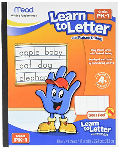 Mead Learn to Letter with Raised Ruling Writing Tablet, 40 Sheets of 8 X 10-inch, White (MEA48170-SN) ()