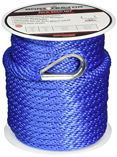 Extreme Max 3006.2060 BoatTector 3/8 x 100' Premium Solid Braid MFP Anchor Line with Thimble, Royal Blue Boat Anchor Rope