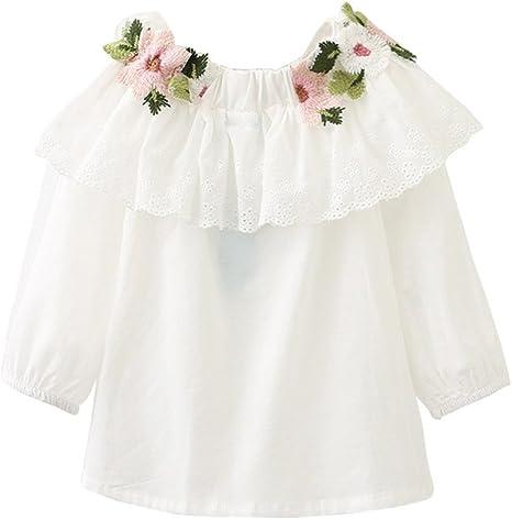 Camisa blanca bordado de flor de niña, shiningup camisa elegante de bordado de bordado de manga larga Talla:140: Amazon.es: Bebé