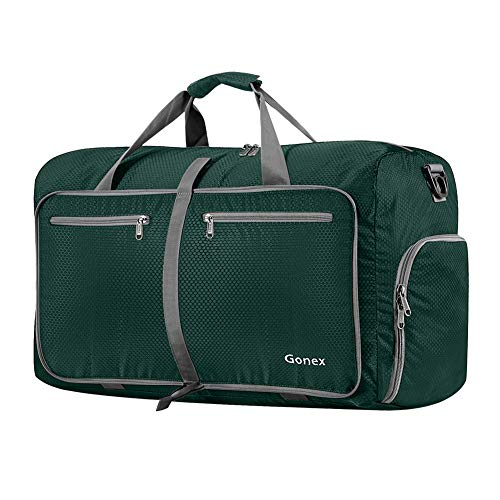 Gonex 60L Foldable Travel Duffle Bag for Luggage, Gym, Sport, Camping, Storage, Shopping Water & Tear Resistant Blackish Green (Best Carry On Duffle)