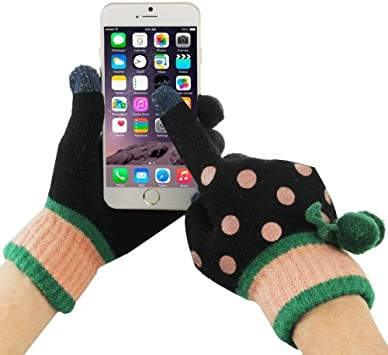 Fashionable Dot Pattern finger táctil 2-Guantes para smartphone y ...