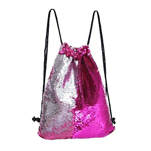 Dance Drawstring - Mermaid Drawstring Bag Magic Reversible Sequin Backpack Glittering Dance Bag for Yoga Outdoors Sports,Valentine's Day Gift for Girls Women(Rose/silvery)