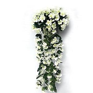 FYYDNZA Violet Flower Pendant Wall Basket Artificial Simulation Decoration Flower Orchid Silk Flower Vine Wedding P2 Valentine'S Day 116