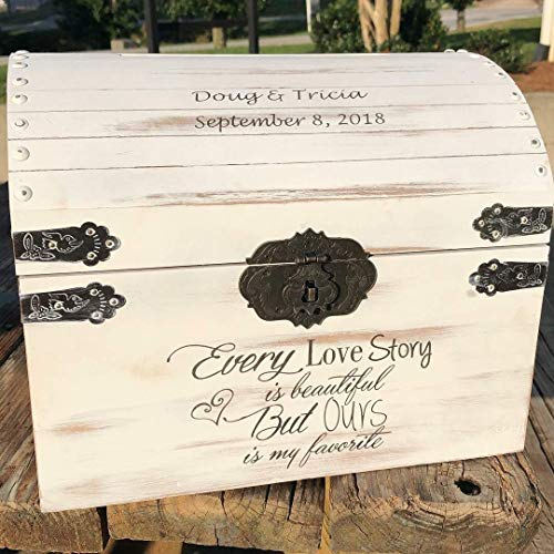 Lockable Secured Distressed Card Box - Rustic Wedding Decor - Wedding Card Box - Rustic Wedding Card Box - Wedding Chest - Card Holder ()