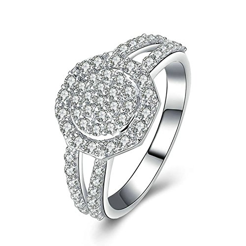 ry 925 Sterling Silver Rings Engagement Halo Ring Round White Cubic Zirconia Size 10s ()