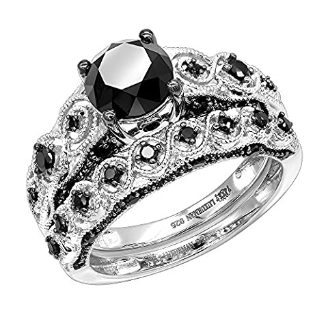 Black Diamond Sterling Silver Antique Engagement Ring Set 2.25ctw (Sterling Silver, Size 7) - Sterling Silver Diamond Antique Ring