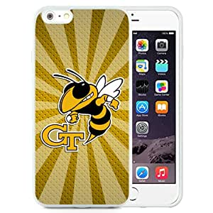 Fashionable And Unique Custom Designed With NCAA Atlantic Coast Conference ACC Footballl Georgia Tech Yellow Jackets 9 Protective Cell Phone Hardshell Cover Case For iPhone 6 Plus 5.5 Inch White