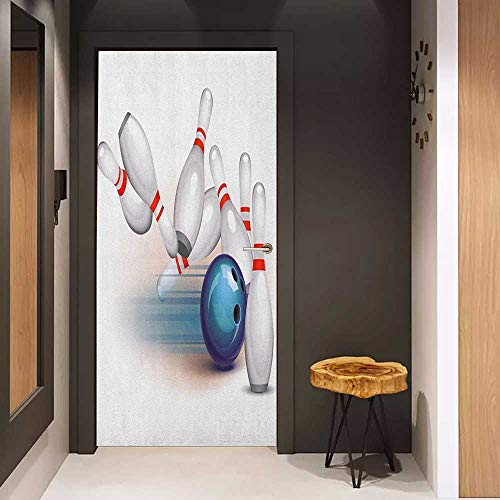 Onefzc Door Wallpaper Murals Bowling Party Thrown Ball and Scattered Pins Speed Hit The Target Shot Score WallStickers W23 x H70 White Pale Blue Red