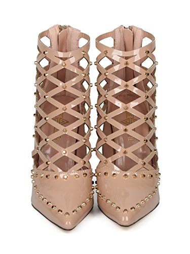 Alrisco Women Studded Pointy Toe Caged Cut Out Stiletto Bootie Pump HF45 - Nude Patent (Size: 6.0) by Alrisco (Image #3)