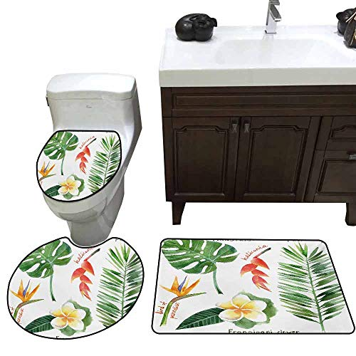 (3 Piece Extended Bath mat Set Plant Bird of Paradise Palm Leaf and Assorted Exotic Flowers Watercolor Elongated Toilet Lid Cover Set Coral Earth Yellow Fern Green)