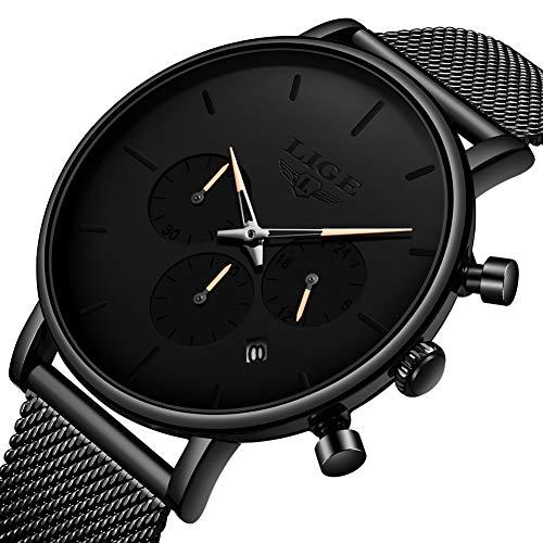 LIGE Mens Watches Simple Waterproof Stainless Steel Mesh Analog Quartz Watch Multifunction Sports Wrist Watches