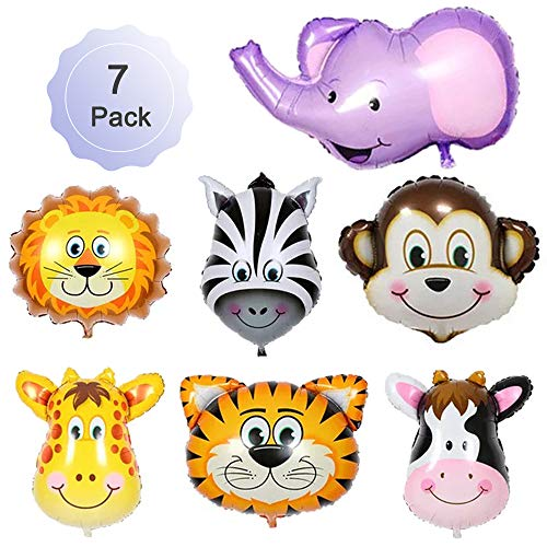 Jungle Safari Animals Balloons Giant Zoo Animal Balloons Kit For Jungle Safari Animals Theme Kids Toy Gift Birthday Party Decorations Tiger Lion Monkey Elephant Deer Zebra Cows 22 Inch 7 ()