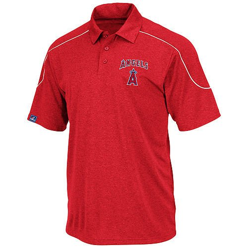 Majestic Los Angeles Angels Run Down Synthetic Polo Shirt Red Big & Tall Sizes (3XL)