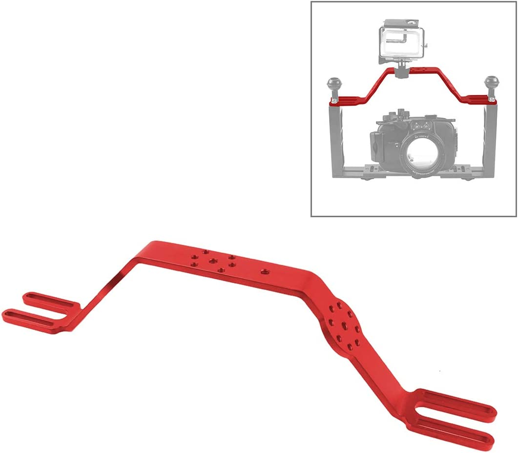 Red PULUZ Diving Tray Camera Bracket Mount Dual Handle Grip Handheld Expansion Mount System