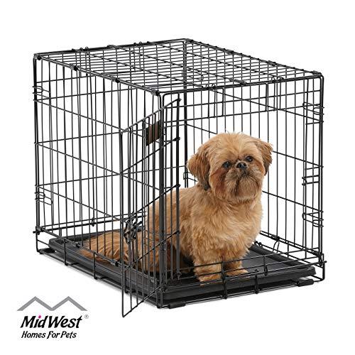 Dog Crate | MidWest ICrate 24 Inch Folding Metal Dog Crate w/ Divider Panel | Small Dog Breed, Black